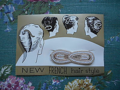 Pretty vintage fashion, 50's/60's hair clip, slide, with faux pearls on card