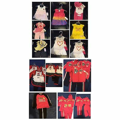 LOT 44 12M 18M 2T 3T BUNDLE, GIRL Baby Toddler Twin OUTFIT SET PINK LOVE Clothes