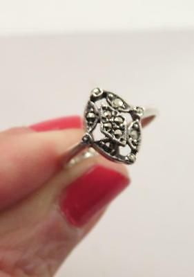 Edwardian Child Sized Sz 4.75 Sterling Marcasite Stone Pinky Ring