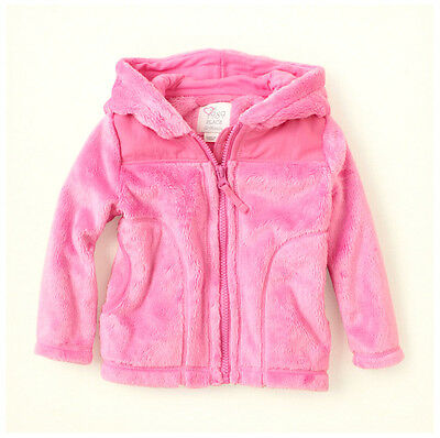 The Children's Place Girls Faux Fur Zip-Up Pink Fluffy Fleece Hooded JACKET NWT
