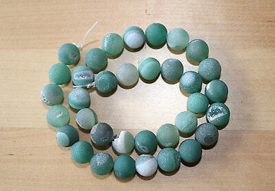 Agate (Gemstone)Ice Matte with Drusy Geode Round Beads, Green 10 mm