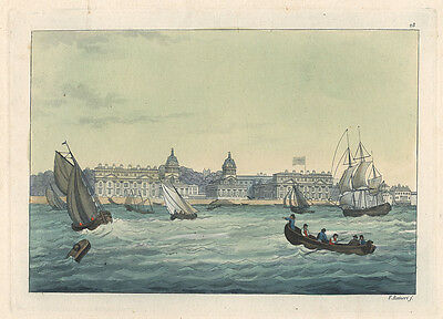 London : Greenwich Hospital. - Altkol. Radierung, ca. 1820