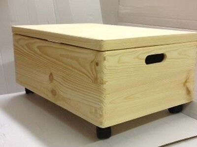 Large Unpainted Wooden Chest Box with castors and lid/ Trunk Storage Unfinished