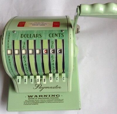 PAYMASTER SERIES X-2000 CHECK WRITER * 2 KEYS * Vintage GREEN COVER