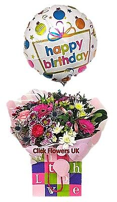 FRESH FLOWERS Delivered Celebration With Love Selection Includes Themed Balloon