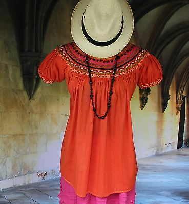 Sweet Peach Color Hand Embroidered Blouse, Chiapas Mexico, Hippie, Peasant, Boho