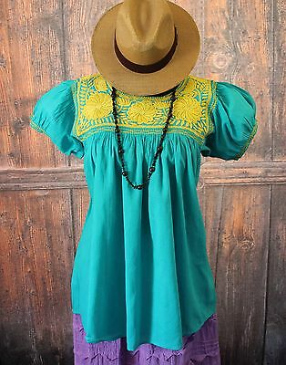 Gold & Turquoise Hand Embroidered Blouse, Mayan Chiapas Mexico, Peasant Hippie
