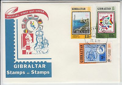 Stamps on stamps Flags Gibraltar 1977 FDC