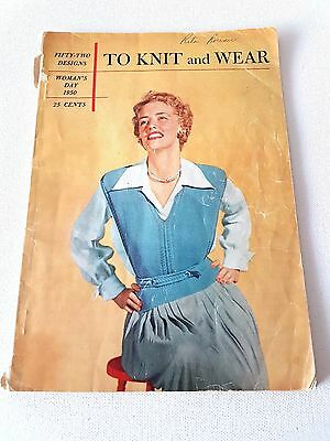 To Knit and Wear Woman's Day 1950 Vintage Knitting Pattern Book 52 Designs