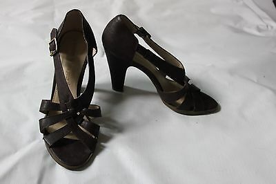 Ladies Brown George Shoes Size 39 UK 6 Strappy Heels Sandals