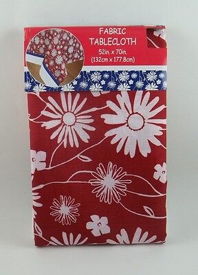Red White Blue Fabric Tablecloth Daisy Sunflower Flowers 52 x 70 #120