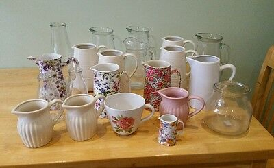 Job Lot Assorted New Ceramic & Glass Jugs & Bottles, Centrepieces, Shabby Chic