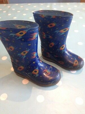 Baby Boy's Wellies Infant Size 6 Eu 23.5, Space Rockets
