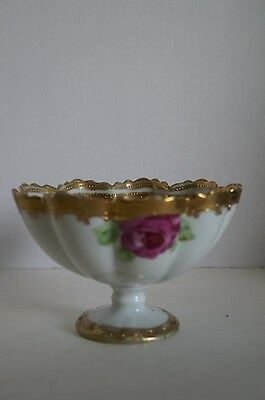 Vintage Ceramic Footed Bowl Candy Dish Hand Painted Roses & Gold Relief Nippon ?