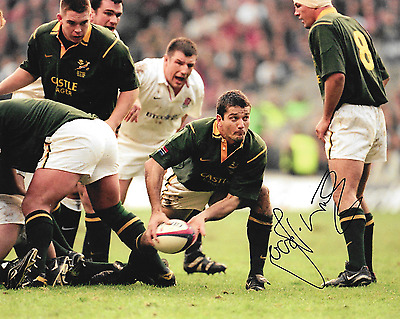 Joost van der Westhuizen south africa against england signed 10x8 photo PROOF
