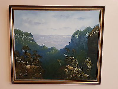 Oil Painting On Canvas '' Mountain Scene '' Signed, By Cavalli