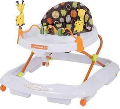 Baby Walker With Wheels Activity Center Tray Folding Gear Toys Safari Theme NEW