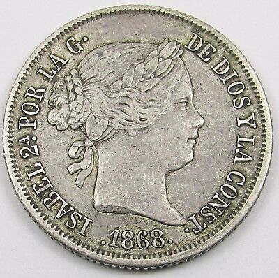 SPAIN - ISABEL II  40 CENTS DE ESCUDO SILVER COIN dated 1868  (18 - 68 in stars)