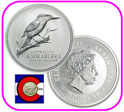 2003 Australia Kookaburra 1 oz. Silver Coin - BU direct from Perth Mint roll