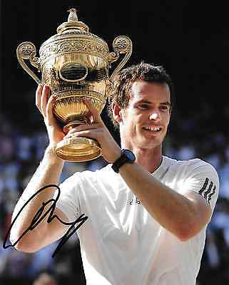 andy murray holding wimbledon trophy signed 10x8 photo PICTURE PROOF