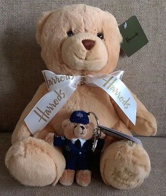 "NEW My Harrods Teddy Bear 25cm (10"") and Harrods Policeman Teddy Key Ring"