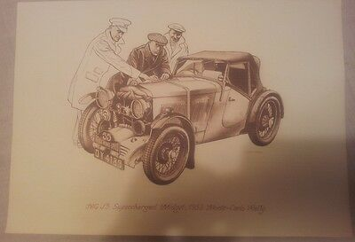 MG J3 Supercharged Midget 1933 Monte Carlo Rally Drawing Illustration Picture