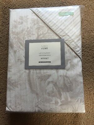 M&S Cotton 180 Thread count Toile King Duvet Cover & 2 Pillowcases *RRP £49.50 !