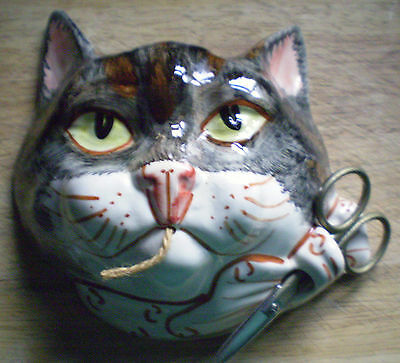 Babbacombe Pottery Moggy Cat Tortisegrey n' White with Sissors C.1990