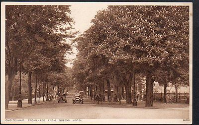 CHELTENHAM CARS on PROMENADE from QUEENS HOTEL by Photochrom c 1935