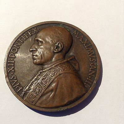 Vatican Pope Pius XII year III High Relief Papal MedalBy Mistruzzi 1941