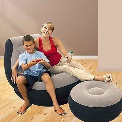 Inflatable Sofa Lounge Chair Set Ottoman Air Seat Camping Gaming Home Furniture