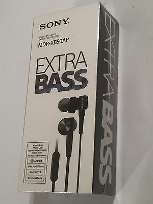 NEW BLACK SONY MDR-XB50AP EXTRA BASS STEREO EARPHONES INLINE REMOTE iPhone iPod