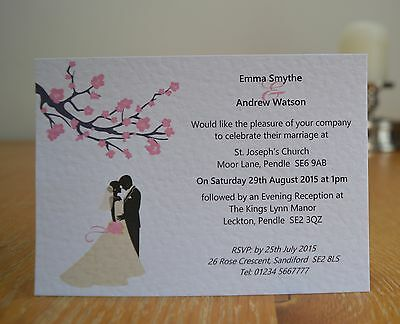 50 x Personalised Wedding Invitations Day Evening with Envelope Silhouette