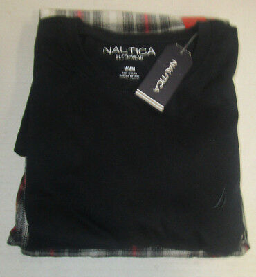 Nwt Mens Nautica Ss Knit Black Shirt Grey/blk,/red Plaid Pants Sleep Set Medium