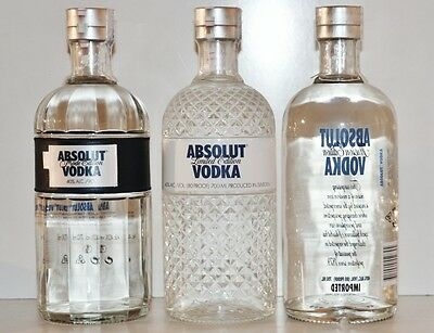 ★ Absolut Vodka 3x Limited Ed. MODE, GLIMMER, ILLUSION Security Cap SC 700 ml ★