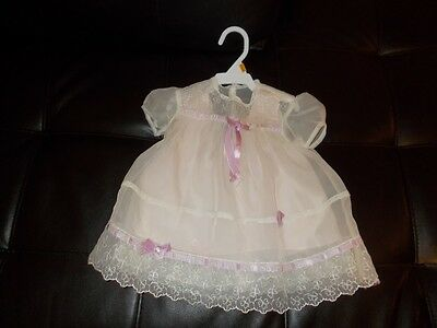 White Chiffon Lace Lavender Ribbon Pink Satin Slip Antique Baby Dress Lace Fine