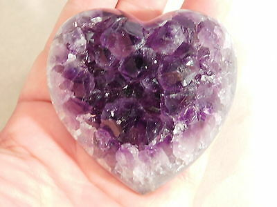 A BIG! DEEP Purple AMETHYST Crystal Cluster Carved HEART! From Uruguay 294gr e