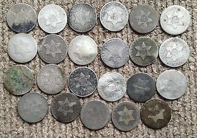 23 low grade Three Cent Silver coins with dates - Lot 1