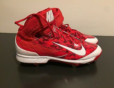 NEW Mens Nike Air Huarache Pro Mid Metal Baseball Cleat RED WHITE CAMO sz 10