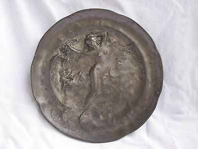 Antique French Pewter Plate,signed,art Nouveau