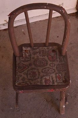 Antique Primitive Child's Wood Chair Windsor Hoopback Bowback Spindle Chip Paint