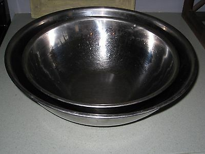 Lot of 2 Large Stainless Steel  Mixing Bowls Restaurant Commercial Korean Made