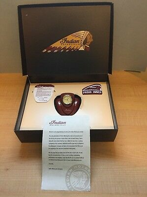 Indian Motorcycle Owners Gas Tank Desk Clock, Patch ~ New In Box...ships Free!
