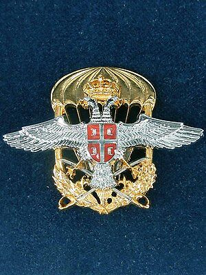 Army Of The Republic Of Serbia - Para Wings Visor Hat Badge - Officer