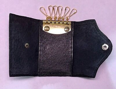 Vintage 70's Leather Wallet Key Holder (black)