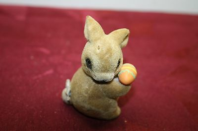 Vintage Flocked Fuzzy Brown Easter Bunny Holding Easter Egg