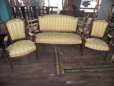 3 Piece Parlor Set,Rich Walnut Loveseat & 2 Matching Side Chairs,Couch,Chai 248A