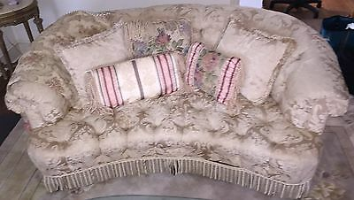 Pair of Tufted Sofas, Charming Sofas in Rich Ivory Damask, Couch, Living Room 0F