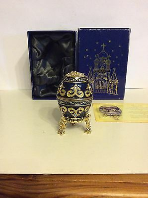 Atlas Editions,Faberge Egg,Galaxy Cobalt Blue Enamel Encrusted Egg & Stand,Boxed