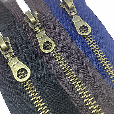 Antique Brass Metal Zips zippers - Open end Zip -Heavy Duty, Black, Brown & Navy